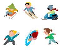 Дети и игры зимы стоковые фотографии rf