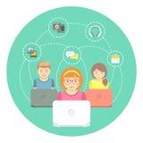 Дети и интернет иллюстрация вектора