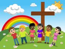 Дети или дети рука об руку около христианского перекрестного луга иллюстрация вектора