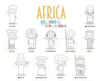 Дети и национальности вектора мира: Африка Установите 11 характера для красить одетый в различных национальных костюмах бесплатная иллюстрация