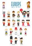 Дети и национальности вектора мира: Европа установила 2 из 2 бесплатная иллюстрация
