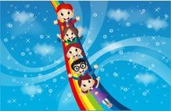 Дети и радуга в красивом небе Стоковое фото RF