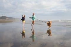 Дети и собака бежать на пляже Стоковое Фото