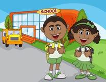 Дети идут к шаржу школы Стоковое фото RF