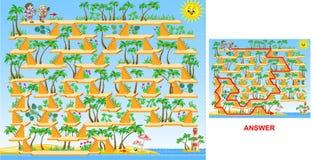 Дети идя к игре лабиринта пляжа (трудного) - для детей бесплатная иллюстрация