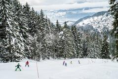 Дети катаясь на лыжах в Швейцарии Стоковые Изображения