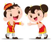 Дети китайца иллюстрации вектора Стоковые Изображения