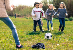 Дети, который побежали к футбольному мячу лежа на траве Стоковые Фотографии RF