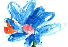 Дети красочной handdrawn акварели Flowerbright голубые большие абстрактные цветут Стоковые Фото