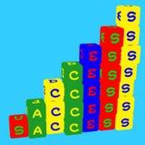 Дети красят кубы с письмами o На дело и жизнь r иллюстрация штока
