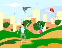 Дети летают змеи в природе, среди холмистого ландшафта, деревьев и задней панорамы многоэтажных зданий города Аннотация бесплатная иллюстрация