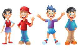 Дети, мальчики и девушки, персонажи из мультфильма установили 1 Стоковая Фотография RF