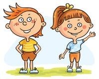 Дети - мальчик и девушка иллюстрация вектора