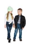Дети моды в куртках Стоковая Фотография