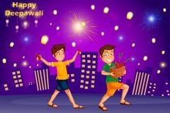 Дети наслаждаясь фейерверком празднуя фестиваль Diwali Индии иллюстрация вектора