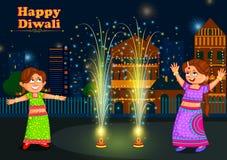 Дети наслаждаясь фейерверком празднуя фестиваль Diwali Индии иллюстрация штока