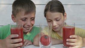 Дети на белой предпосылке выпивают сок томата от стекел Сок томата питья 2 мальчиков сток-видео