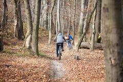 Дети на велосипедах в лесе осени Стоковые Фотографии RF