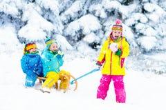 Дети на езде саней Бросаться через снег Потеха снега зимы Стоковое Изображение RF