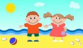Дети на море Стоковые Изображения RF