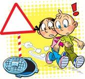 Дети на дороге бесплатная иллюстрация