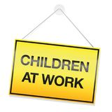 Дети на символе детского труда знака работы Стоковая Фотография RF