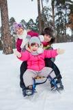 Дети на скелетонах в снеге Стоковое Изображение RF