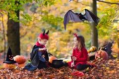 Дети на фокусе или обслуживании хеллоуина Стоковое Изображение RF