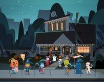 Дети нося костюмы извергов идя в фокусы городка или концепцию праздника знамени хеллоуина обслуживания счастливую иллюстрация вектора