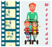 Дети нося отца на векторе прогулочной коляски 2 мест Стоковое Изображение