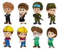 Дети одевают как профессия как дело, солдат, инженер, доктор иллюстрация штока
