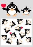 дети одевая пингвина картины Иллюстрация вектора