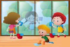 Дети очищая окно дома иллюстрация штока