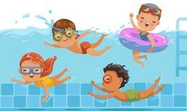 дети плавая иллюстрация штока