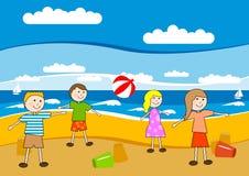 дети пляжа бесплатная иллюстрация