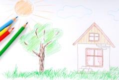 дети покрасили эскиз s стоковое изображение