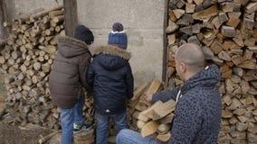 Дети помогают родителям собрать швырок для того чтобы воспламенить в печи сток-видео