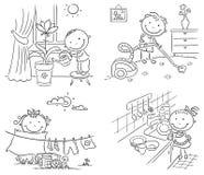 Дети помогая их родителям с домашним хозяйством иллюстрация штока
