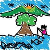 Дети почерка предпосылки ландшафтов абстрактные Стоковая Фотография