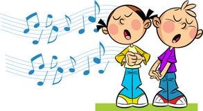 Дети поют Стоковая Фотография