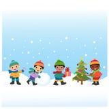 Дети празднуют зимние отдыхи иллюстрация вектора