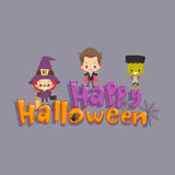 Дети приветствуя счастливый хеллоуин Иллюстрация штока