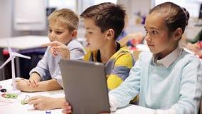 Дети при ПК таблетки программируя на школе робототехники
