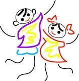 дети радостные иллюстрация вектора