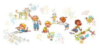 Дети различных изображений притяжки национальности на стенах и поле иллюстрация штока