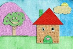 дети рисуя смешной счастливый дом s Стоковая Фотография