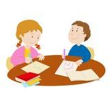 Дети рисуя с карандашами иллюстрация штока