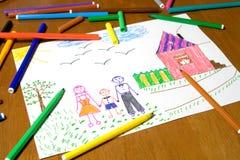 дети рисуя s Стоковые Изображения RF