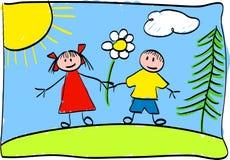 дети рисуя s Стоковое фото RF