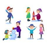 Дети рождества играя игры зимы иллюстрация вектора